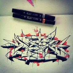 "Graffiti blackbook work by ""Alew One"""