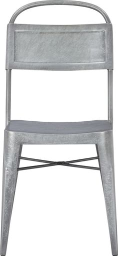 Industrial chic seating with a vintage farmstead and factory look, crafted from milled steel, galvanized with a hot zinc dip for a thick durable coating and hand-finished for the distressed look of a bygone era.  Each unique chair displays its own spangles, characteristic of the galvanizing process.  A versatile style statement, indoors or out.