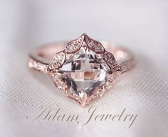 Floral Design 7mm VS  Morganite Ring 14K Rose Gold by AdamJewelry