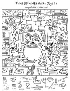 Hidden Picture Puzzles Pages - Hidden Picture Puzzles Pages, Hidden Pictures Printables.highlights In the Classroom. Hidden Object Puzzles, Hidden Picture Puzzles, Highlights Hidden Pictures, Hidden Pictures Printables, Find The Hidden Objects, Find Objects, Three Little Pigs, Activity Sheets, Preschool Worksheets