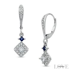 #Zales - #Zales Vera Wang Love Collection 1/2 CT. T.w. Princess-Cut Diamond and Blue Sapphire Drop Earrings in 14K White Gold - AdoreWe.com