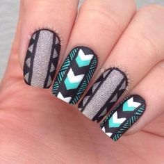 Black, Silver, and Mint Aztec Nails Fabulous Nails, Gorgeous Nails, Get Nails, Hair And Nails, Tribal Nails, Nagellack Trends, Nagel Gel, Creative Nails, Nail Trends