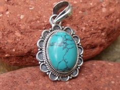 HANDCRAFTED 925 SILVER TURQUOISE PENDANT SILVERANDSOUL JEWELLERY