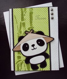 handmade card from Paper Ecstasy ... Asian theme ... Cricut cut panda ... on Create-a-Critter cartridge ...  flocked and fuzzy ... bamboo stamped on green on green monochromatic paper ... luv how the embossing folder texture on the base fits the Asian theme ... fun card!!!