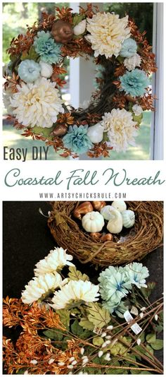 I'm sharing how you can make this Coastal Fall Wreath simply and quickly!!