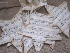 Etsy Transaction - Vintage Sheet Music Star Ornaments Set of 6 - Christmas - Shabby Christmas Sheet Music Ornaments, Sheet Music Crafts, Sheet Music Art, Vintage Sheet Music, Vintage Sheets, Music Paper, Music Sheets, Piano Music, Christmas Music