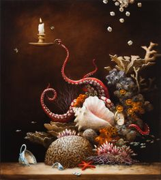 'Optimist Reef' by Kevin Sloan Fine Art Part of Platinum Blend 2 opening January 2016 at Modern Eden Gallery. Curated by Stephanie Chefas of Platinum Cheese. Octopus Art, Octopus Tentacles, Magic Realism, Pop Surrealism, Kirigami, Surreal Art, Fantasy Art, Cool Art, Art Photography