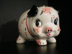 Kwaiii=CUTE Vintage Piggy Bank by TheClassyGlassLassy on Etsy, $14.99 Piggy Banks, Pretty, Cute, Vintage, Kawaii, Savings Jar, Vintage Comics, Primitive