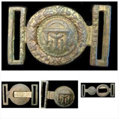 "The buckle shown here is a very crude, sand cast, copy made from a pre-war Georgia state seal, sword belt buckle.  Even though the casting quality is poor, it is gilted for use by one of Georgia's officers.  The loss of detail in the casting process leave no doubt that it is one of the buckles made during the War as prior to the War much finer examples would have been desired, and could be obtained.       The seal shows an arch supported by ""Wisdom, Justice, Moderation"" and guarded by a…"