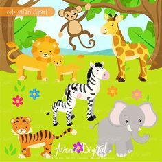This item is now available in the Cute Animals Graphics and Patterns Bundle! Find it here: Cute Safari Clipart Scrapbook printables, baby animals clip art set for Commercial Use. Baby Wild Animals, Safari Animals, Cute Animals, Zoo Birthday, Animal Birthday, Decoupage, Giraffe, Elephant, Cute Scrapbooks
