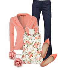 """Coral Blazer"" by qtpiekelso on Polyvore"