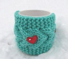 Christmas Coffe CozyRed heart Mug Cozy Cup Cosy Mug by Sizana Knitted Boot Cuffs, Mug Warmer, Aquamarine Colour, Mug Cozy, Knitting Accessories, Valentine Gifts, Baby Knitting, Cosy, Make It Yourself