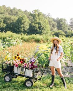 Outfit Details: Madewell Overalls (last seen here, also similar here), ALC Tee, Hunter Boots, Hat from Lily Charleston (similar here)