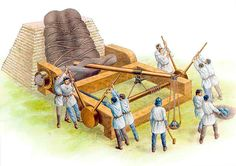 The onager, a Roman siege engine that is a type of catapult that uses a torsional force, generally from twisted rope, to store energy for the shot.