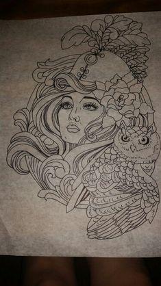 Athena and owl tattoo design