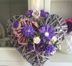 Fabric, felt and crochet flowers willow heart