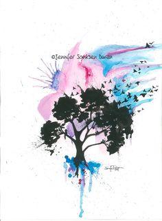 abstract+watercolor+artists+trees   Art Watercolor Painting Tree Birds, Abstract Splash Art, Tattoo Art ...