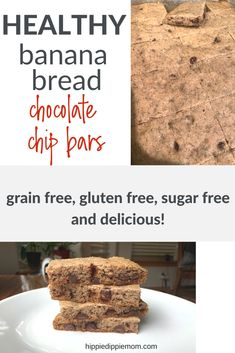 These banana bread chocolate chip bars have been adapted to be sugar free, grain free and gluten free. I love using cassava flour in my baking. Click to get the recipe for these healthy banana bread chocolate chip bars.   Cassava flour   Healthy Baking   Gluten Free   Sugar Free #grainfree #refinedsugarfree #cassavaflour Vegan Recipes Plant Based, Healthy Diet Recipes, Healthy Baking, Healthy Foods To Eat, Healthy Desserts, Dessert Recipes, Diet Foods, Chocolate Banana Bread, Chocolate Chip Banana Bread