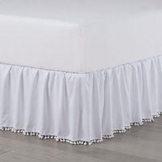 Boho Bedding, White Bedding, Cotton Bedding, White Bed Skirt, White Skirts, Pom Pom Trim, Classic White, Comforter Sets, Bed Frame
