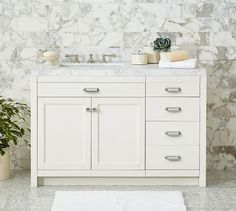 Davis Custom Asymmetric Single Console with Drawers | Pottery Barn
