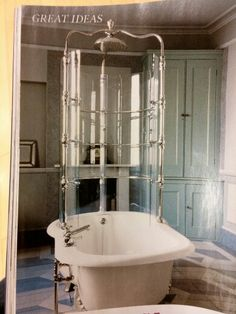 Shower stall around claw foot tub