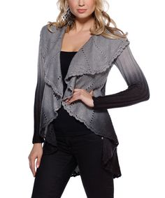 Look at this Belldini Pebble & Black Ombré Open Cardigan on #zulily today!