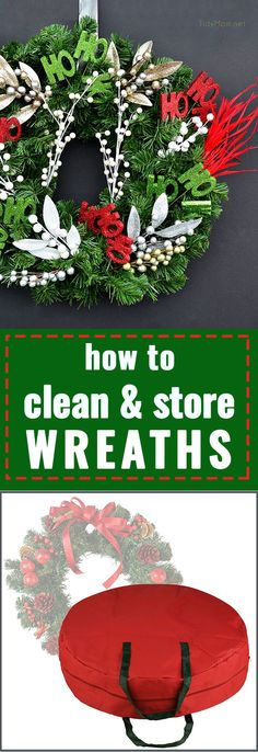 At the end of the season, I'm always much more excited to put up the upcoming holiday's decor than I am to take down and store away the old stuff. It's important to give your wreaths a good clean before storing them away. This will help preserve their li All Things Christmas, Christmas Crafts, Christmas Decorations, Holiday Decor, Christmas Storage, Holiday Ideas, Wreath Crafts, Diy Wreath, Wreath Ideas