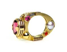 Claudio Pino ring in gold with pink tourmalines, pearls and carnelian at the Aaron Faber Gallery.