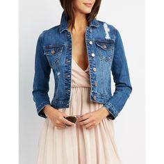 Refuge Cropped Destroyed Denim Jacket ($25) ❤ liked on Polyvore featuring outerwear, jackets, medium wash denim, cropped jean jacket, blue jackets, blue jean jacket, button up jacket and cropped denim jacket