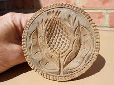 3.625in across x 2.875in tall (handle) Old Antique Chip Carved Wood Wooden Butter Mold Stamp Type w Folk Art Thistle