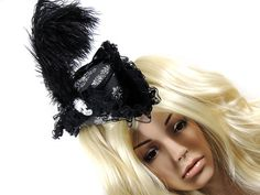Gothic Lolita small tricorn with skull skull cameo and feathers victorian Marie Antoinette rococo Burlesque