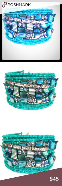 "BOHO Style Turquoise Beaded Cuff Bracelet This BOHO Style Turquoise Beaded Cuff Bracelet is just what you need to add pizazz to your boho outfit. Really cute and comfortable to wear. Will fit average wrist to 8"". Open clutch so stretchable. Brand new. NWT NuBella Jewelry Bracelets"