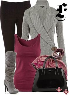Fall Outfit With Grey Cardigan,Leggings and Handbag