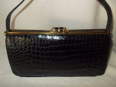 Stunning vintage 1950's black crocodile handbag in super condition by VintageHandbagDreams on Etsy