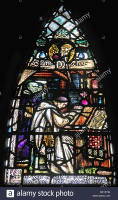 stained glass window depicting Saint Machar in the old St. Machar Cathedral in Aberdeen, Scotland