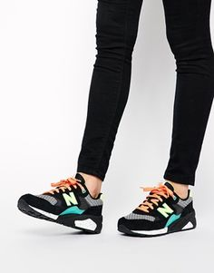 Zapatillas de deporte de ante y malla en negro mix 580 de New Balance