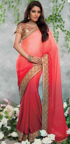 USD 51.33 Red Satin Party Wear Saree 48288