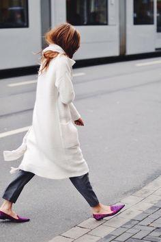 white coat + purple shoes