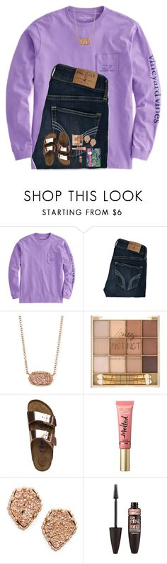 """Set for Olivia!"" by cora-g77 ❤ liked on Polyvore featuring Hollister Co., Kendra Scott, Birkenstock, Too Faced Cosmetics, Maybelline and Lilly Pulitzer"