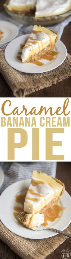 Caramel banana cream pie has a delicious graham cracker crust, a caramel layer, topped with banana pudding and whipped cream for a delicious twist on traditional banana cream pie! Cream Pie Recipes, Tart Recipes, Pie Dessert, Dessert Recipes, Easy Desserts, Delicious Desserts, Banana Cream, How Sweet Eats, Sweet Treats
