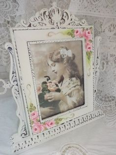 WOW FRAME on STAND hp roses chic shabby vintage cottage hand painted OOAK pink #Cottage