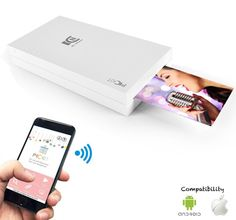 Portable Instant Mobile Photo Printer - Wireless Color Picture Printing from Apple iPhone, iPad or Android Smartphone Camera - Mini Compact Pocket Size Easy for Travel - SereneLife White Iphone Photo Printer, Mobile Photo Printer, Smartphone Printer, Android Smartphone, Best Portable Photo Printer, Mobile Photos, Camera Phone, Best Iphone, Apple Iphone