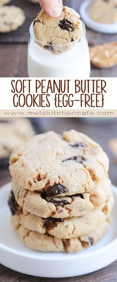 These egg-free peanut butter cookies (with chocolate chips, of course!) might be the softest, yummiest, most decadent cookie you'll ever meet!