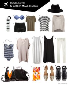 How do I pack only one Carryon? - Travel Light: 10 days in Miami, Florida - Mary Jane Cruz How to pack in just a carryon! - Travel Light: 10 Days in Miami, Florida How do I pack only one Carryon? - Travel Light: 10 days in Miami, Florida Boho Outfits, Summer Outfits, Holiday Outfits, Travel Outfit Summer, Travel Wardrobe, Capsule Wardrobe, Travel Capsule, Travel Packing, Look Fashion