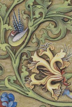 Vines, Flowers, Birds Carpet Page BNF, Latin 1173, fol.16v Horae ad usum Parisiensem. Source: gallica.bnf.fr