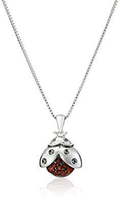 "Sterling Silver Garnet Flying Ladybug Pendant Necklace, 18"" Amazon Collection http://www.amazon.com/dp/B008CO542U/ref=cm_sw_r_pi_dp_uPOPvb0DEY2AG"