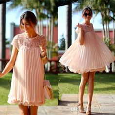 Elegant Mum Sheer Crew Neck Short Sleeves Beaded Maternity Cocktail Dress Pleated Chiffon Knee Length A-line Formal Homecoming Party Dresses, $113.09   DHgate.com
