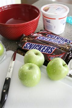 SNICKER SALAD (tastes like a yummy carmel apple with nuts and chocolate) Ingredients: Cool whip, Snickers (frozen or cold - easier to chop) green apples. Chop apples into bite size pieces. Chop Snickers bars into bite size pieces. Combine in bowl. Stir in cool whip (ADD butterscotch pudding mix for an extra layer of yummyness). ENJOY!!