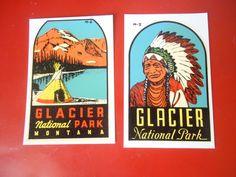 Highway Art 2 Vintage 1960 Travel Decals Montana Glacier National Park Lindgren -Turner Co Souvenir Ephemera Trailer Car Coach Auto Hot Rod