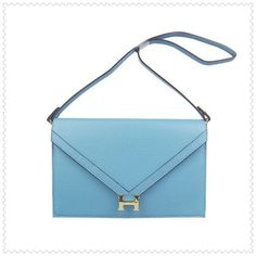 Hermes Messenger Bag Togo Leather Light Blue With Gold Hardware